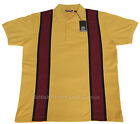 Relco 60s Style Stripe Pique Polo Shirt MUSTARD Mod Northern Soul 100% Cotton