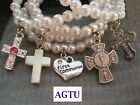 PICK YOUR CHARM 1st First Holy Communion Cross or Heart Charm w Pearl Bracelet