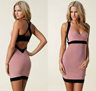 ♚HONOR GOLD♚ BLACK PINK BACKLESS BODYCON CLUB PARTY MINI BODYCON BANDAGE SZ 8-16