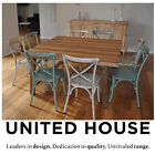 Rustic Industrial 8 Seater Square Timber Wooden Dining Table & Steel Chairs Set