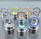 PAIR STAINLESS STEEL CZ EAR GAUGES EAR PLUGS FLESH TUNNELS CHOOSE COLOR image