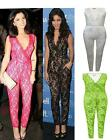 NEW WOMENS CELEBRITY VANESSA HUDGENS LUCY NET LACE FLORAL LADIES BLACK JUMPSUIT