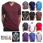 Men's Plain Basic V-Neck T-Shirts Lot Cotton Short Sleeve Solid Tee Black S-5XL