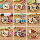 Womens Thread Braided Weaved Butterfly Animal Wrist Watch Bracelet Ladies Gift