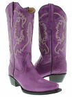 Women's Purple Casual Classic Western Style Cowboy Boots Plain Leather