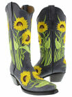 Women's Denim Blue Sunflower Leather Western Cowboy Boots Rodeo Cowgirl New