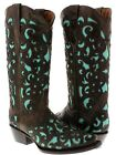Women's Oviedo Brown Turquoise Overlay Western Leather Cowboy Cowgirl Boots New