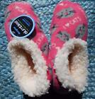Slumbies Womens Size 5 - 10 Slipper Bed Socks Pink Cats Fleece Winter Anti-Slip