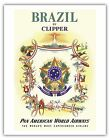 Brazil Coat of Arms Pan Am Vintage Airline Travel Art Poster Print Giclee