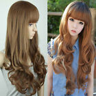 New Fluffy Womens Girls Long Wavy Curly with Fringe Hair Full Wigs  4 Colors