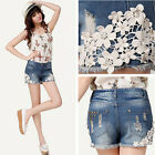 Leisure Lace Floral Women Wash Jeans Denim Shorts Rivet Summer Short Pants FMUS