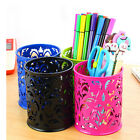 Nicely Hollow Rose Flower Pattern Cylinder Pen Pencil Pot Holder Container CA FM