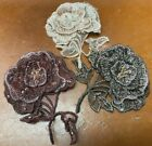 "EMBROIDERED 3-D ROSE APPLIQUE Layered Flower Leaves 3"" Hand Sewn GLASS BEADS 1pc"