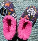Slumbies Womens Size 5 -10 Slipper Pink Flowers Bed Socks Winter Anti-Slip New