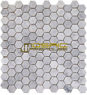"Carrara White Marble Mosaic Tile, CWMM1HEX, 1"" Hexagon, Polished"