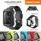 FOR Apple Watch Case Cover, Genuine YOUMAKER HEAVY DUTY TOUGH ARMOR Band Strap
