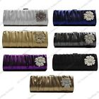 METALLIC SATIN ROUCHED DIAMANTE CRYSTAL FLORAL ROSE FLOWER CLUTCH EVENING BAG