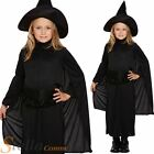Girls Classic Black Witch Halloween Fancy Dress Costume Outfit & Hat Age 4-12