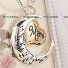 Rose Gold Heart & Moon Necklace Pendant Locket Gift for Mother Mum Birthday Xmas