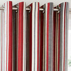 Melrose Stripe Woven Effect Cotton Eyelet Ring Top Lined Curtains, Red