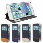 Demin PU Leather Window View Cover For iphone6 case