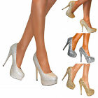 WOMENS GLITTER PLATFORM STILETTO HIGH HEEL COURT PARTY PUMP BRIDAL SHOES SIZE