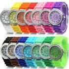 Fashion LADIES WOMEN Silicone GENEVA Rhinestone Quartz Wrist Watch NEW