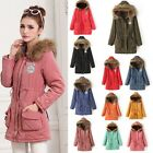 Hot Women Thicken Winter Warm Fur Collar Coat Parka Overcoat Long Jacket Outwear