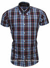 Relco Short Sleeve Bold Check Shirt CK20 - Navy / Sky 60s Button Down Mod Skin