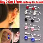 1x Pair Fake Clip-on Crystal Silver Plated Earrings For Tragus Helix Cartilage