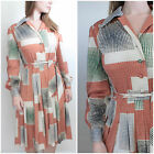 VINTAGE 1970S RETRO MOD GEOMETRIC LONG SLEEVE WINTER BOHO CHIC MIDI DAY DRESS 12