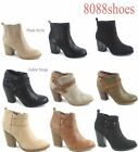 Women's Fashion Almond Toe Chunky High Heel Ankle  Zip Booties Size 5.5 - 11 NEW