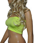UV NEON FLO Yellow Lycra Strapless BOOB TUBE Bandeau TOP Clubwear Dance Party B6