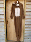 MENS CHEEKY MONKEY HOODED FLEECE ALL IN ONE DRESSING UP PLAYSUIT BROWN MEDIUM M