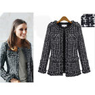 Women Celeb Woolen Slim Elegant Collarless Tweed Thread Short Jacket Coat Blazer