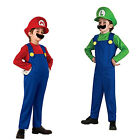 Mario and Luigi Costumes Kids Super Mario Bros Brothers Halloween Outfit FT2021