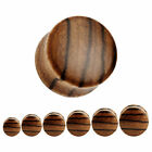 BROWN STRIPED WOODEN EAR PLUGS Saddle Piercing Stretchers Jewellery TIMBER PL56