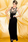 Womens Black/Animal Full Length Floor Gown Evening Cocktail Prom Dress