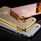 Metal Frame Mirror Case Cover Tempered Glass Screen Protector for Apple iPhone