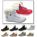 WOMEN'S  LACE UP FUR LINED WARM HI ANKLE WINTER  BOOTS HIGH TOP TRAINER SIZE 3-9