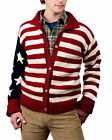 USA Patriotic American Flag Hand Knitted Wool Cardigan Sweater