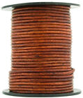 Brown Distressed Red Round Leather Cord 2mm 25 meters (27 yards)
