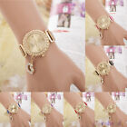 NEW Womens Fashion Leather Quartz Watch Crystal Rhinestone Love Heart Watch