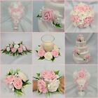 WEDDING FLOWERS BRIDAL PACKAGE BOUQUET POSY WAND BUTTONHOLE LIGHT PINK + WHITE