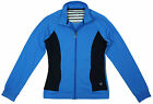 Womens Blue Sports Stretch Cotton Zip Track Jacket Ladies Gym Top Sizes 8 to 20