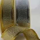 Tightly Woven Wired Lurex Gold Silver Decorative Ribbon By the Metre & Full Roll