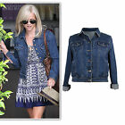 Dark blue denim stretchy and soft cropped loose fit jacket