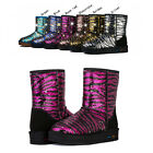HIGA Women Girl Winter Snow Snowy Warm Mid-tude Zebra Sequins Bling Shoes Boots