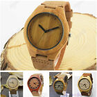 New Mens Wood Watch Bamboo Wooden Watch Genuine Leather Quartz Wristwatches+Box