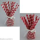 25 Red Retro Party Paper Straws, Birthday, Wedding, Summer, Stripes and Dots